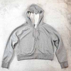 NWT Wild Fable Gray Fleece Full Zip Crop Hoodie XL
